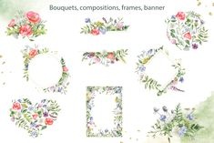 Ad: Meadow flowers and herbs. Watercolor by Marina Ermakova on Meadow flowers and herbs. The aromas of the summer meadow, the rustling of grass, the beauty and brightness of wild Watercolor Illustration, Graphic Illustration, Illustrations, Meadow Flowers, Wild Flowers, Birthday Clipart, Frame Wreath, Flower Frame, Design Bundles