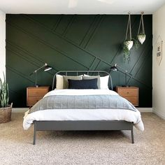 The Best Dark Green Paint Colors To Use in Your Home! - best dark green paint colors to use in your home Green Bedroom Walls, Green Master Bedroom, Green Accent Walls, Dark Green Walls, Master Bedroom Design, Home Decor Bedroom, Modern Bedroom, Contemporary Bedroom, Bedroom Ideas