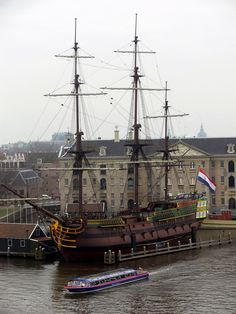 The replica of the VOC Amsterdam moored in Amsterdam harbor. 52.374093°N 4.911563°E