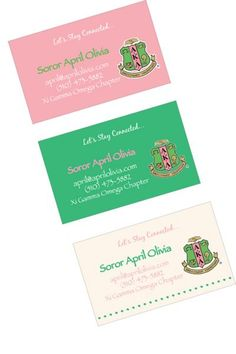 Alpha Kappa Alpha Contact Cards Stay in touch with your Sorority Sisters with the chic contact cards! Choose from pink, green, or cream. Add your mailing address or keep it simple with just your telephone number and email address. You can also add a position if you like. You choose!  *Note: These contact cards have rounded edges  QUANTITY* Purchase 50, save $5.00! Regular price: $30.00