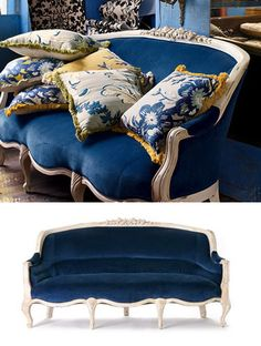 Evoking the charming French film of the same name, this Amelie Sofa from Anthropologie ($2,898) is a deep blue velvet indulgence, made even more feminine by elegant carved white wood. Its design was inspired by a couch found at a Parisian flea market,