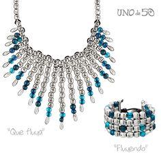 """Hoy destacamos dos joyas en azul, el collar """"Que fluya"""" y la pulsera """"Fluyendo"""".  We highlight two jewels in blue, """"Que fluya"""" necklace and """"Fluyendo"""" bracelet.  Collar/necklace """"Que fluya"""": http://goo.gl/y3prTm Pulsera/bracelet """"Fluyendo"""": http://goo.gl/nJra3b"""