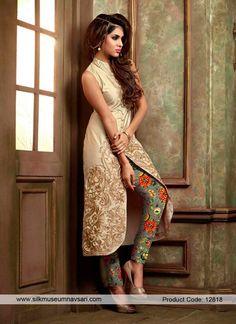 Lavish Beige Resham Work Silk Designer Suit