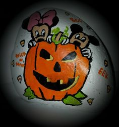 Mickey and Minnie Halloween painted Rock