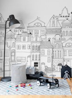 Wallpaper London Houses by Rebel Walls Girl Bedroom Walls, Girl Room, City Wallpaper, Wall Wallpaper, Small Lounge Rooms, Cool Bedrooms For Boys, London House, Kids Room Design, Kid Spaces