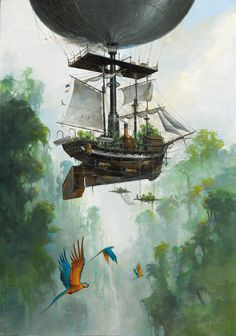 • art painting fantasy steampunk airship fantasy art airships steam punk…