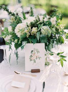 Natural & Airy Wedding With A Timeless Design | Kayla Yestal | Flourish Calligraphy | Wedding Inspiration, Fine Art, Calligraphy, Wedding Invitations, Summer Wedding, Real Wedding, Botanical Print Table Number, Garden Wedding
