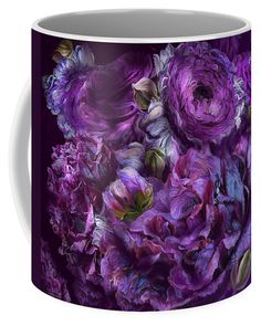 Peonies In Purples mug featuring the art of Carol Cavalaris.