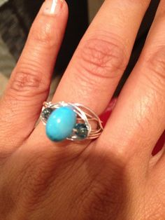 Blue Turquoise Bead Ring Sterling Silver Fill Jewelry by Lilyb444, $19.00