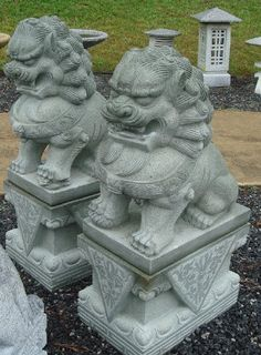 36 Inch Estate Granite Foo Dog Pair, Northern Style, Black & White by Fine Garden Products. $3826.99. Hand-carved from granite in China by skilled artists.. Large Estate Granite Foo Dog Pair, Northern Style or Chinese Lions are made of granite. Each Foo-dog is individually hand carved of granite in China by a skilled artist. The loose jewel enclosed in each mouth is carved during the process and will never fall out. Each Foo dog is one solid piece, separate decorative base is i...