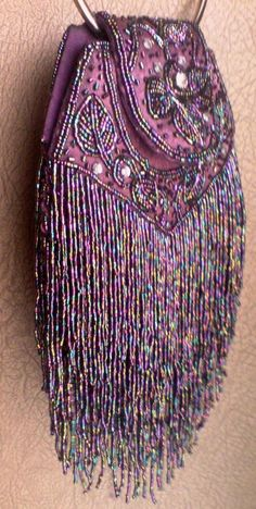 ♥ Purple fringed beaded bohemian bag purse