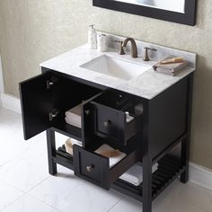 Winterfell 36 inch Single Sink Espresso Vanity with Carrara White Marble Countertop with Backsplash - Overstock for $830