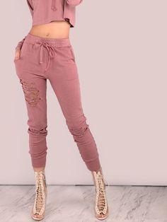 Shop Distressed Drawstring Sweatpants MAUVE online. SheIn offers Distressed Drawstring Sweatpants MAUVE & more to fit your fashionable needs.