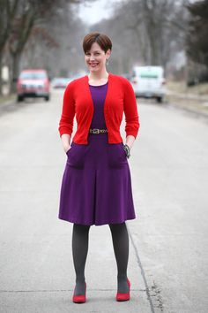 Already Pretty outfit featuring cropped red cardigan, purple ponte dress, gray Falke tights, red suede pumps, J.Crew rhinestone bracelet, leopard belt
