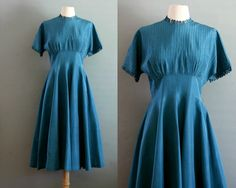 40s Teal Pintuck Pocket Gown