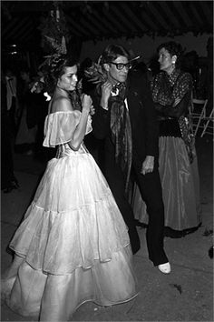 1978 - Bianca Jagger and Yves Saint Laurent at Loulou's wedding