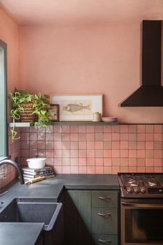 M + M Home - Eclectic - Kitchen - Los Angeles - by Taylor + Taylor Eclectic Kitchen, Boho Kitchen, Kitchen Interior, Kitchen Dining, Kitchen Decor, Ikea Kitchen, Pink Kitchen Cabinets, Green Cabinets, Kitchen Tiles