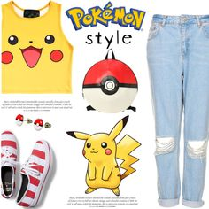 pokemon pikachu by silycarsobers on Polyvore featuring polyvore fashion style O-Mighty Keds Topshop topsets keds Pokemon pokemonstyle