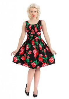 Spring Flowers Belted Dress Black With Red Flowers and Scoop Neck At Inked Boutique