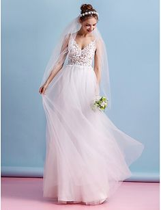 A-Line Spaghetti Straps Floor Length Tulle Sheer Lace Custom Wedding Dresses with Lace by LAN TING BRIDE®