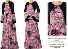 Wide Bell Sleeves Pink Paisley Kaftan Abaya Modest by MissMode21