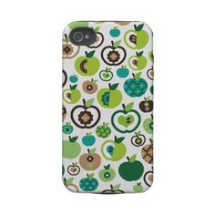 New Designer Cases for iPhone etc : Cute retro apple flower pattern design iphone 4 tough cover by Designalicious