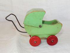 Vintage Jadeite Green Wooden Toy Doll Pram by AntiqueGardens