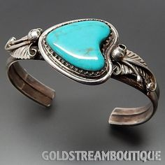 SOUTHWESTERN 925 SILVER HEART SHAPED TURQUOISE FOLIATE HEAVY SOLID CUF – Gold Stream Boutique