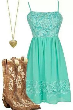 Cowboy boats outfit summer dress country girls 47 Ideas for 2019 Country Girl Outfits, Country Fashion, Cowgirl Outfits, Country Girls, Cowgirl Boots, Country Style, Tan Boots, Country Dresses With Boots, Country Girl Nails