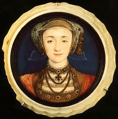A Miniature of Anne of Cleves. Hans Holbein c. 1539. Anne was married to Henry VIII from 6th Jan 1540 to 9th July 1540. The marriage was annuled. She outlived all of Henry's wives and died on 17th July 1557 at Chelsea Manor. H.