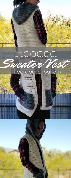 Crochet Hooded Sweater Vest | Hooked on Homemade Happiness