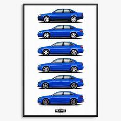 Audi S4 Generations Print - C4, B5, B6, B7, B8, B9