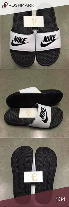 """NIKE BENASSI SLIDES JUST DO IT White Black Nike Benassi """" JDI """" Just Do It  White / Black  Men's US size & Women's US size   ** please contact me if you have sizing questions before your purchase **  CONDITION: Brand New - without box  *SATISFACTION IS 100% GUARANTEED*  ADDITIONAL NOTES: Guaranteed to be 100% AUTHENTIC NIKE MERCHANDISE ( purchased from an authorized Nike retailer )  Sandal Slide Sandals Color Comfortable sz size 7 8 9 10 11 12 13 14 Nike Shoes Sandals & Flip-Flops"""