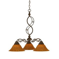 Filament Design Concord Series 3-Light Bronze Chandelier with Tiger Glass Shade