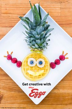 Looking for ways to fun up your kid's morning… Try Eggo Waffles! With only 5 ingredients you can create a TROPICAL start to your day! Food Art For Kids, Fun Snacks For Kids, Cooking With Kids, Family Meals, Kids Meals, Family Recipes, Breakfast Dishes, Breakfast Ideas, Eggo Waffles