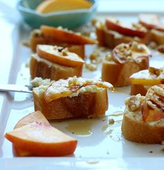 Grilled Peach Crostini with Goat Cheese, Mascarpone & Honey by Making Thyme for Health (via Yummly)