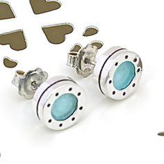 Blue Enamel Porthole Studs Temple Jewellery, Blue Bird, Black Stripes, Precious Metals, Studs, Aqua, Enamel, Pendants, Stud Earrings