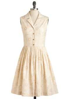 Garden Sketch Dress - Cotton, Long, Cream, Gold, Floral, Buttons, Casual, Shirt Dress, Sleeveless, Party, 50s, Exclusives, Cocktail, Scholastic/Collegiate, Button Down, Collared, Fit & Flare