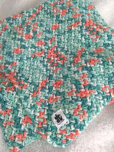 Green-Orange crochet Baby blanket