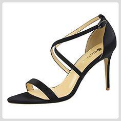 Azbro Women's Open Toe Cross Strap High Heels Sandals, Black EURO39/US8/UK6 - Sandalen für frauen (*Partner-Link)