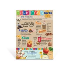 Bag the junk and discover what are the real problems with junk food with the information found on the Junk Food Facts Poster. Junk food are made from fat, sugar, and salt – ingredients that your body doesn't need or only needs in small amounts. This colorful poster highlights foods and health risks from eating too much from each category, as well as highlighting the significance of eating fiber-rich foods that benefit your body. Nutrition Poster, Nutrition Bars, Vegan Nutrition, Nutrition Education, Nutrition Activities, Nutrition Guide, Healthy Food Choices, Healthy Meals For Kids, Healthy Foods To Eat
