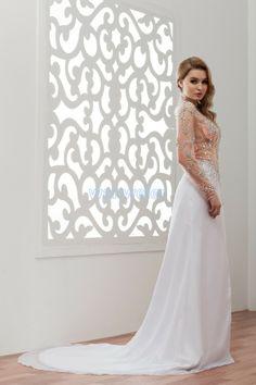 Taffeta White High collar Floor Length Wedding A-line Dress With Appliques