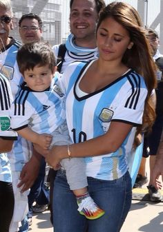 Messi' Wife at the stadium today supporting Argentina!