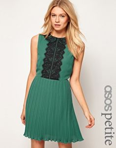 ASOS PETITE Exclusive Skater Dress With Lace Peterpan Collar