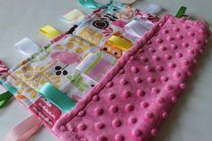 Baby Taggie Blanket Pink Minky & Owl Animal by LittleMissMonkeys, $15.25