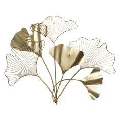 Déco murale fleurs en métal doré ...