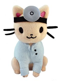 """Doctor Cat Plush  $23.00  It's Doctor Cat, now available in plush form! Perfect for cuddling when you aren't feeling well~  Each plush is about 7"""" tall."""