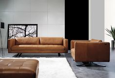The gorgeous new Sorano sofa in Clay aniline leather | Beyond Furniture
