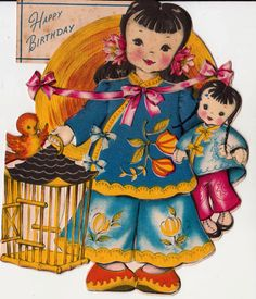 Vintage 1946 RARE Unused Chinese Girl and Her Dolly Happy Birthday Greetings Card (B2). $8.00, via Etsy.