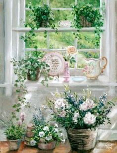 CarolArt ✽ Paintings and Video : Romantic Garden Cottage - Susan Rios Cottage Art, Garden Cottage, Vibeke Design, Garden Windows, Wow Art, White Decor, Beautiful Artwork, Art World, Flower Art